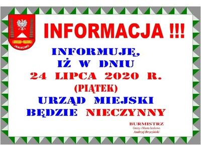 Informacja: w dniu 22 lipca 2020 r. (piątek) Urząd Miejski będzie nieczynny