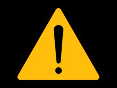 Znak przedstawiający żółty trójkąt z zaokrąglonymi wierzchołkami, z czarną krawędzią i czarnym wykrzyknikiem na środku.