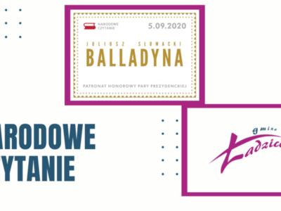 """Grafika zawiera treść promującą akcję Narodowe Czytanie 2020. W trakcie dziewiątej odsłony,  5 września 2020 roku, będzie czytany dramat Juliusza Słowackiego – """"Balladyna""""."""