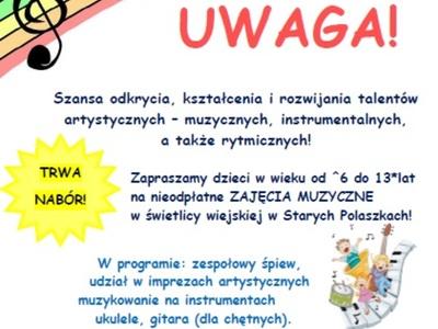 Nabór na zajęcia Muzyczne w świetlicy w Starych Polaszkach