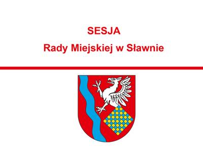 Grafika - zawiadomienie o sesji rady miejskiej w Sławnie