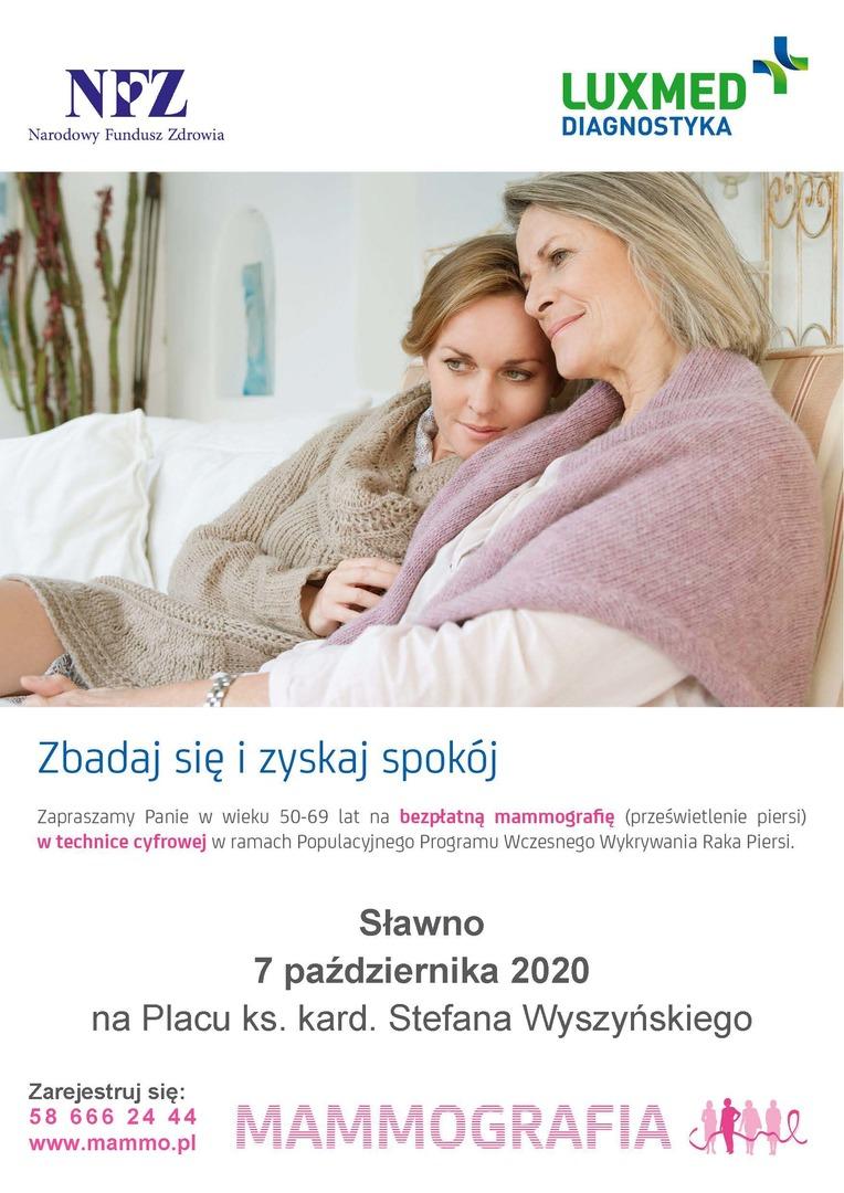 Bezpłatne badania mammograficzne plakat
