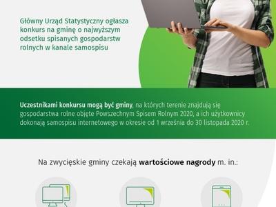 Plakat dotyczący konkursu Prezesa GUS, po prawej stronie na zielonym tle kobieta w czapce trzymająca laptop.