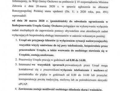 Ograniczenia w funkcjonowaniu Urzędu Gminy Orchowo.