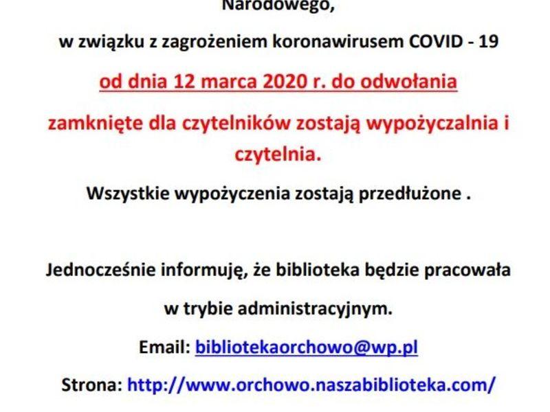 Biblioteka nieczynna w związku z zagrożeniem koronawirusem.