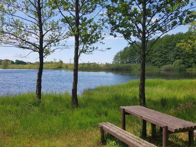 Zdjęcie przedstawia teren do biesiadowania przy Jeziorze Chróstno w Pękaninie.