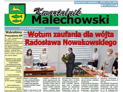 Zdjęcie przedstawia pierwszą stronę nowego numeru Kwartalnika Malechowskiego, którego nakład zamknięto dnia 14 lipca.