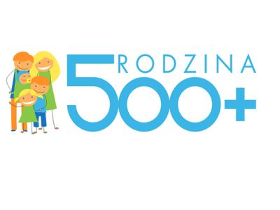 Zdjęcie przedstawia grafikę programu Rodzina 500+ z czterema postaciami.