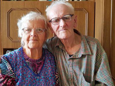 Zdjęcie przedstawia Jubilata Edwarda Bęben wraz z żoną Aliną.