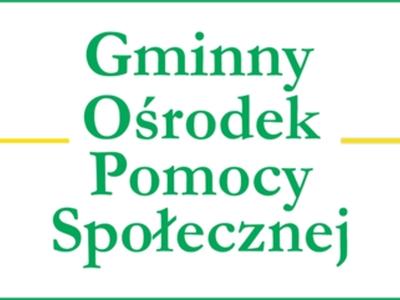 Grafika przedstawia napis Gminny Ośrodek Pomocy Społecznej w barwach zielono - żółtej.