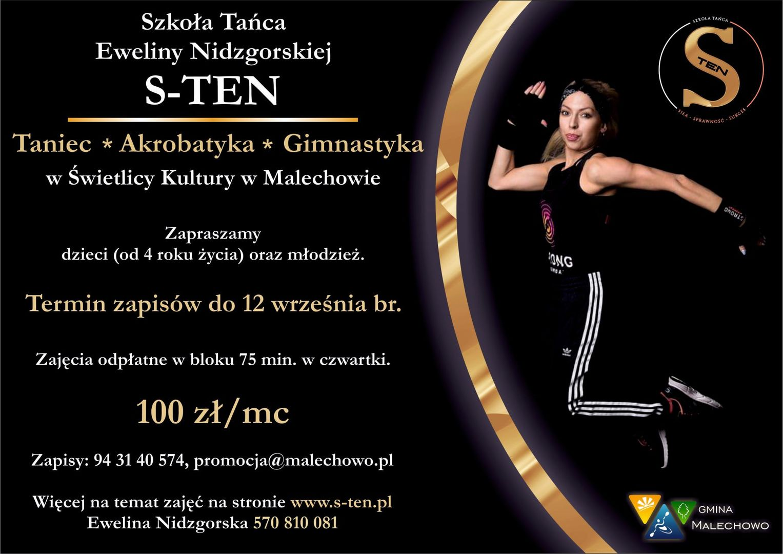 Plakat przedstawia informacje odnośnie akrobatyki i zajęć tanecznych wraz ze zdjęciem trenerki.