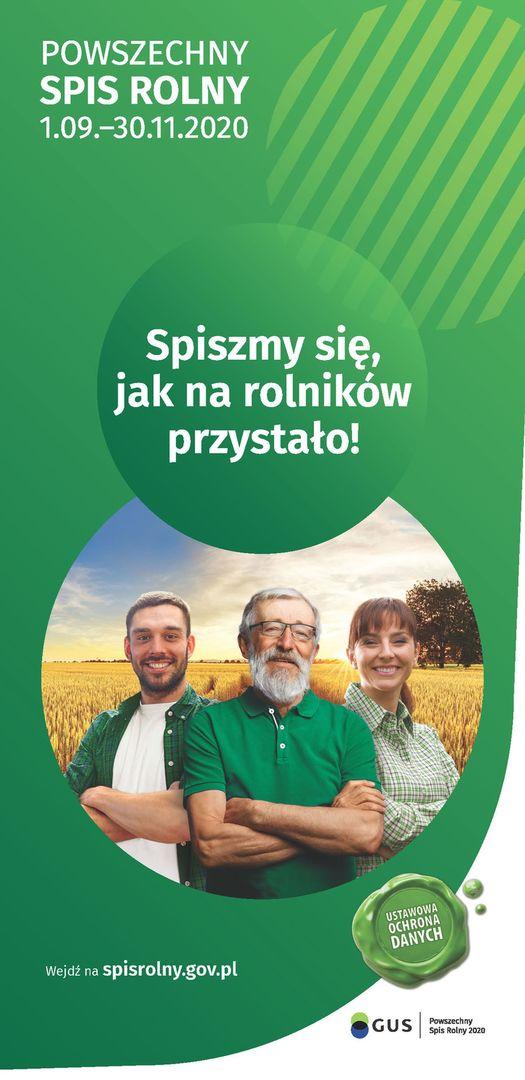 Zdjęcie przedstawia plakat dotyczący Powszechnego Spisu Rolnego 2020.