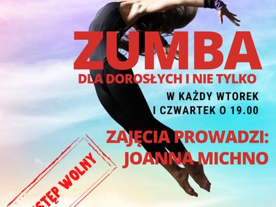 Plakat informujący o zajęciach zumby, które odbywają się we wtorki i czwartki o godzinie 19:00 w Świetlicy Kultury w Malechowie, plik JPG o rozmiarze 3,3 MB.