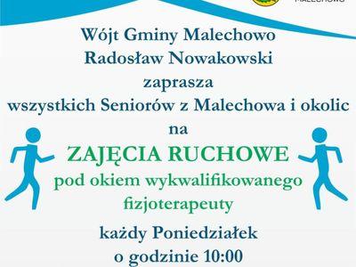 Plakat informujący o zajęciach ruchowych dla seniorów, które odbywają się w poniedziałki w Świetlicy Kultury, plik o rozmiarze 3,03 MB.