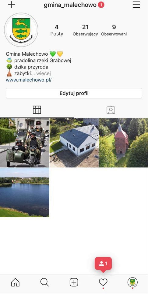 Zdjęcie przedstawia oficjalne konto Gminy Malechowo na Instagramie.