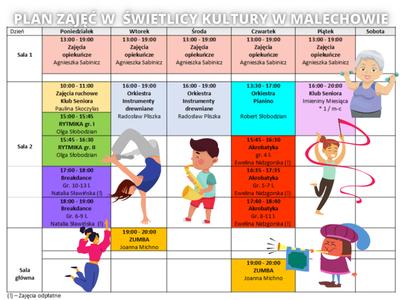 Grafika przedstawia plan zajęć w Świetlicy Kultury w Malechowie.