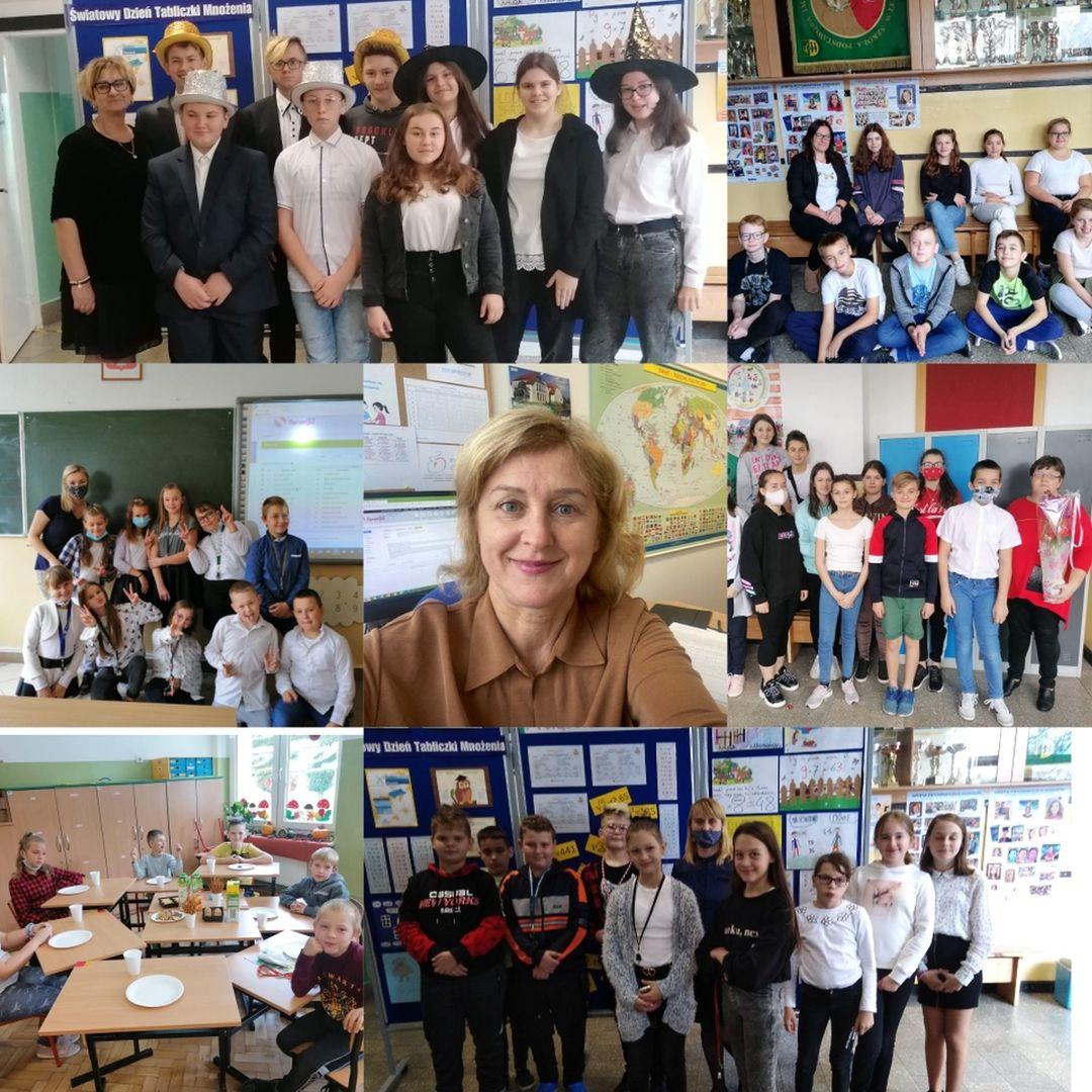Sklejka zdjęć uczniów SP Lejkowo i ich nauczycieli oraz dyrektor placówki w okazji DEN.