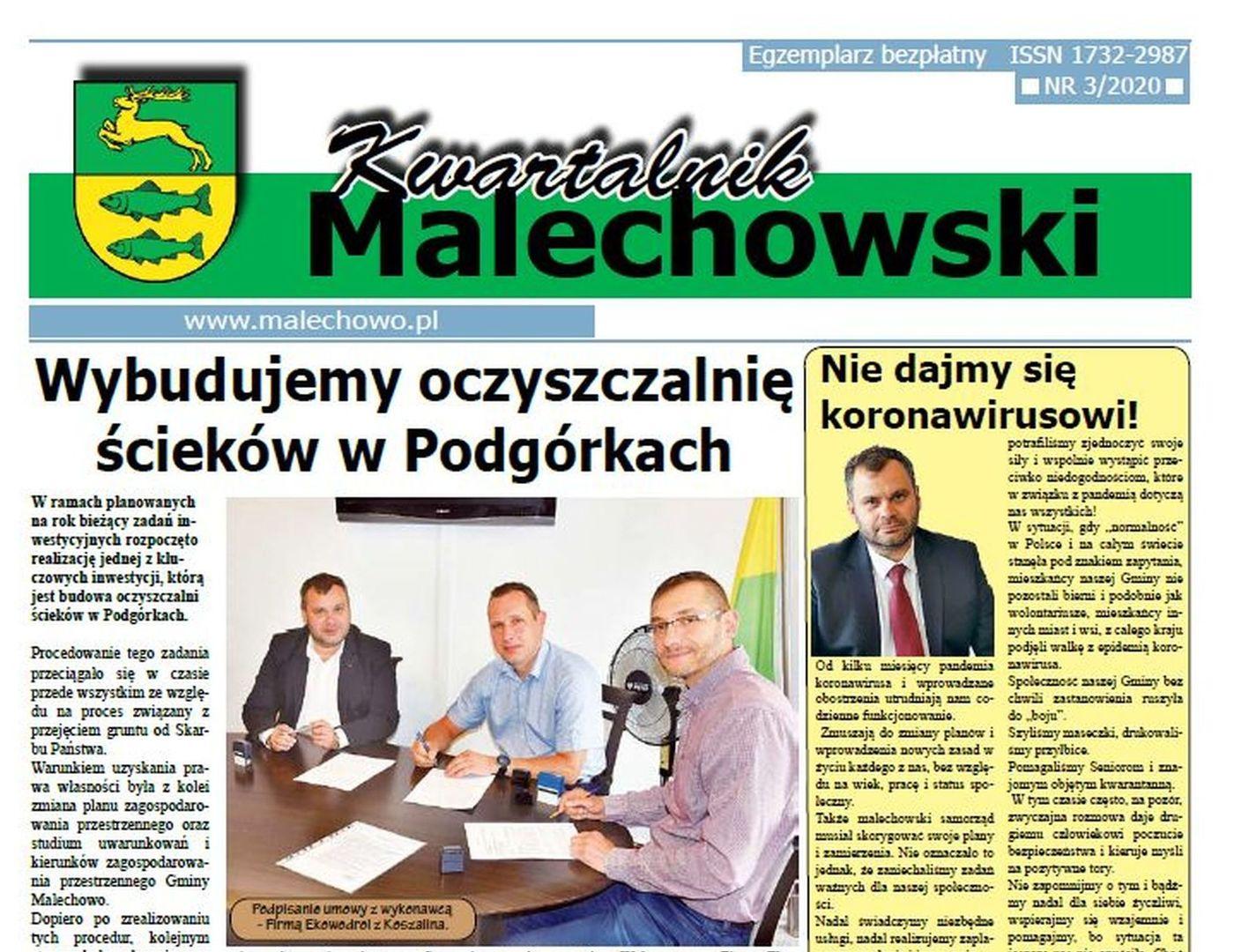 Pierwsza strona nowego numeru Kwartalnika Malechowskiego.