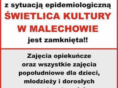 Świetlica Kultury zamknięta w dniach 19-22 października br.