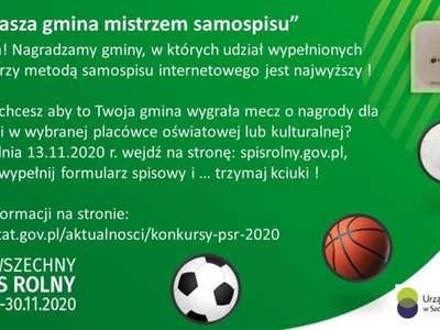 Plakat informujący o konkursie dla gmin w Powszechnym Spisie Rolnym.