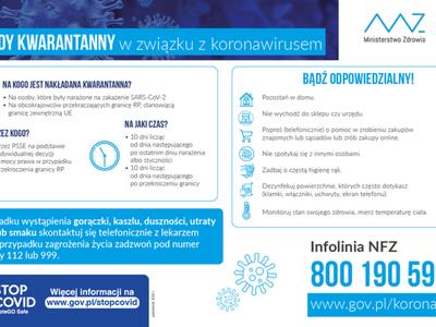 Plakat informujący o zasadach kwarantanny.