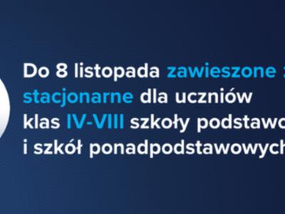 Informacja o zawieszeniu zajęć w klasach IV-VIII szkół podstawowych do dnia 8 listopada br.