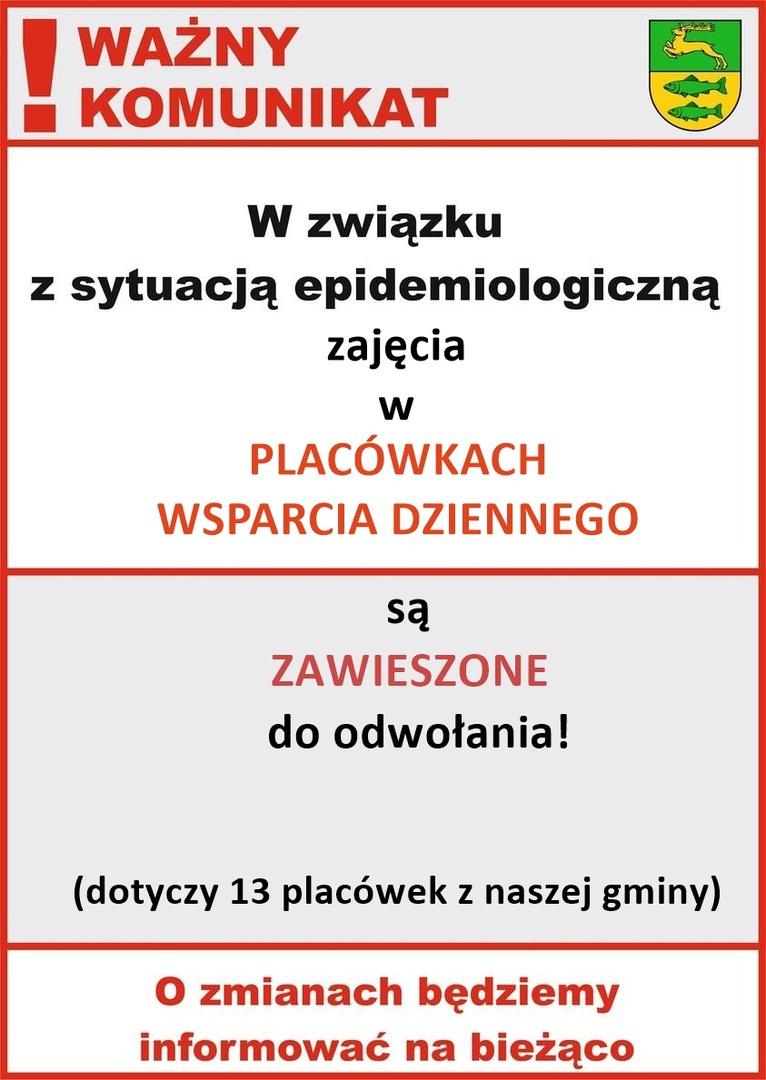 Informacja na temat zawieszenia zajęć w Placówkach Wsparcia Dziennego w gminie Malechowo w związku z sytuacją epidemiologiczną.