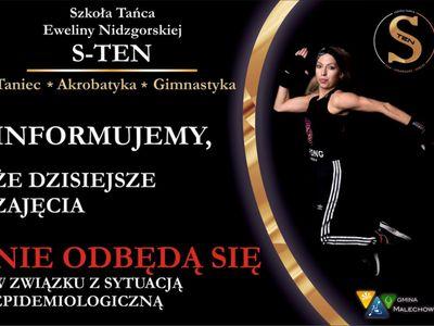 Plakat informujący o odwołniu zajęć akrobatyki w dniu 29 października br.
