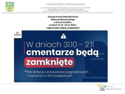 Zdjęcie obrazujące informację na temat zamknięcia cmentarzy w dniach 31.10 - 02.11.2020 r.