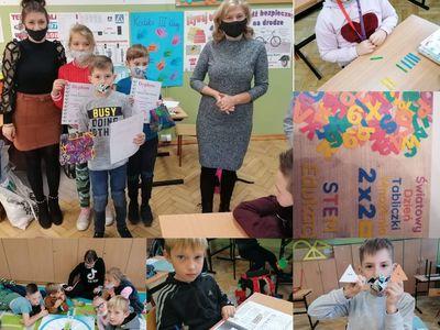 Kolaż zdjęć z obchodów Światowego Dnia Tabliczki Mnożenia, przedstawia uczniów Szkoły Podstawowej w Lejkowie, wychowawcę oraz dyrektor placówki.