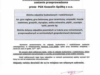 Informacja dotycząca zbiórki odpadów budowlanych w Gorzycy.