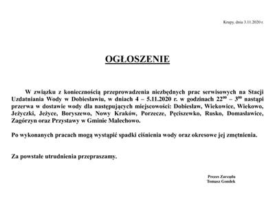Plakat informujący o przerwie w dostawie wody w miejscowości Przystawy.