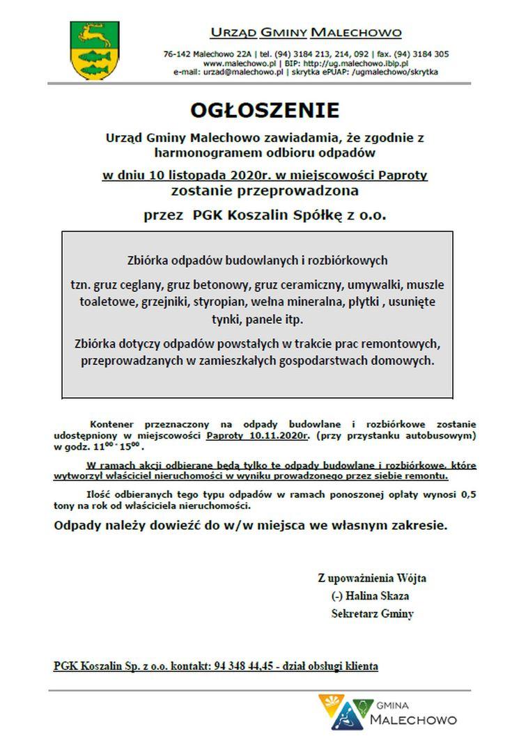 Informacja dotycząca zbiórki odpadów budowlanych w Paprotach dnia 10 listopada br.