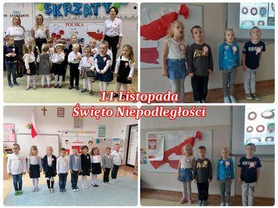 Kolaż czterech zdjęć prezentujący grupy przedszkolaków z malechowskiego przedszkola podczas uroczystego odśpiewania Mazurka Dąbrowskiego.