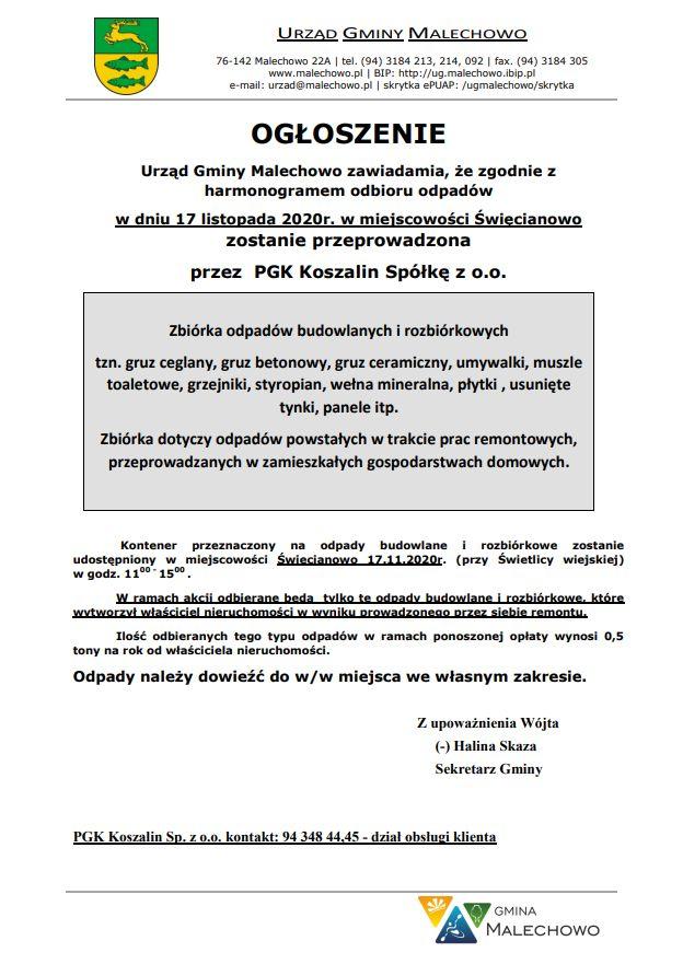 Informacja o zbiórce odpadów budowlanych w Święcianowie dnia 17 listopada br.