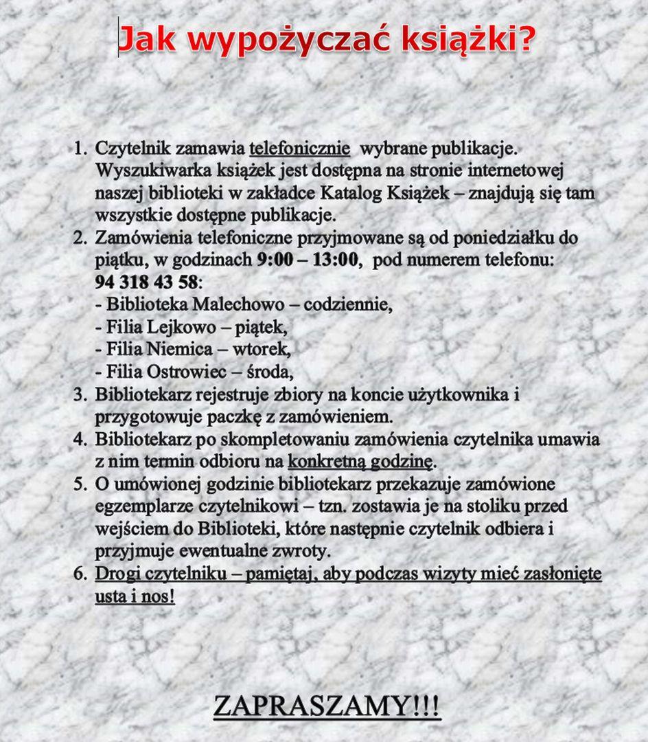 Informacja na temat telefonicznego wypożyczania książek w Gminnej Bibliotece Publicznej w Malechowie.
