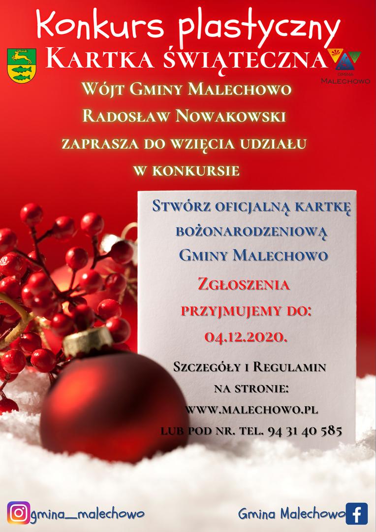 Plakat informujący o konkursie plastycznym na kartkę bożonarodzeniową Gminy Malechowo.