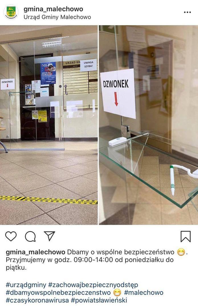 Kolaż zdjęć przedstawia strefę bezpieczeństwa w malechowskim urzędzie, w której obsługiwani są klienci.