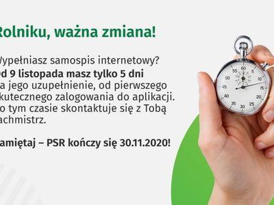 Grafika dotyczy zmiany czasu na uzupełnienie informacji w Powszechnym Spisie Rolnym, od pierwszego logowania będzie to 5 dni.