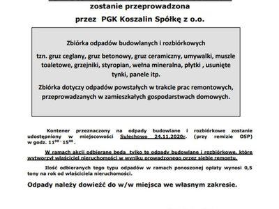 Informacja o zbiórce odpadów budowlanych w Sulechowie.