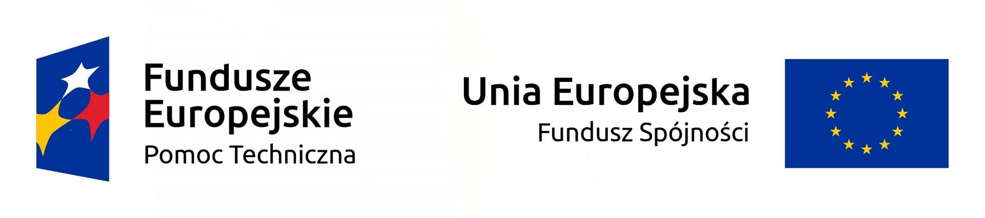 LogaFundusze Europejskie Pomoc technicznaorazUnia Europejska Fundusz Spójności [2304x511]