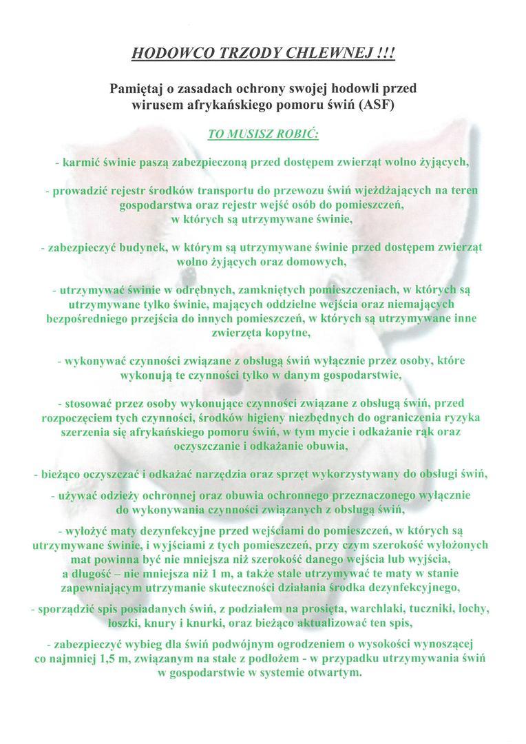 Zasady ochrony hodowli przed wirusem afrykańskiego pomoru świń (ASF)