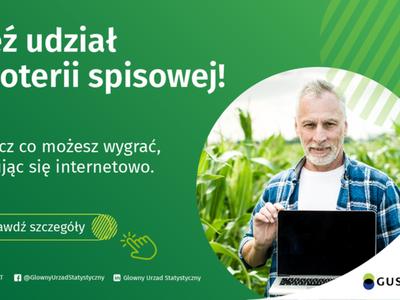Zielony plakat z białym napisem Weź udział w loterii spisowej