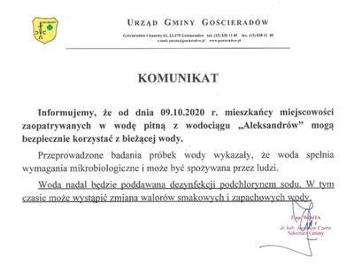 Obraz podpisanego dokumentu z komunikatem