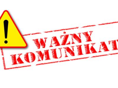 Czerwony napis ważny komunikat na białym tle z żółtym znakiem ostrzegawczym