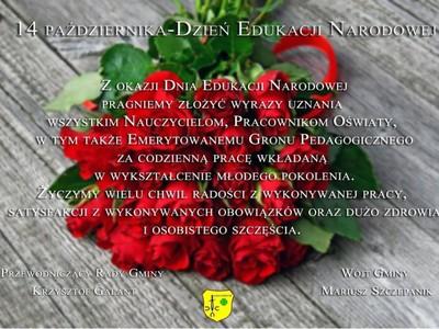 Życzenia na tle czerwonych róż