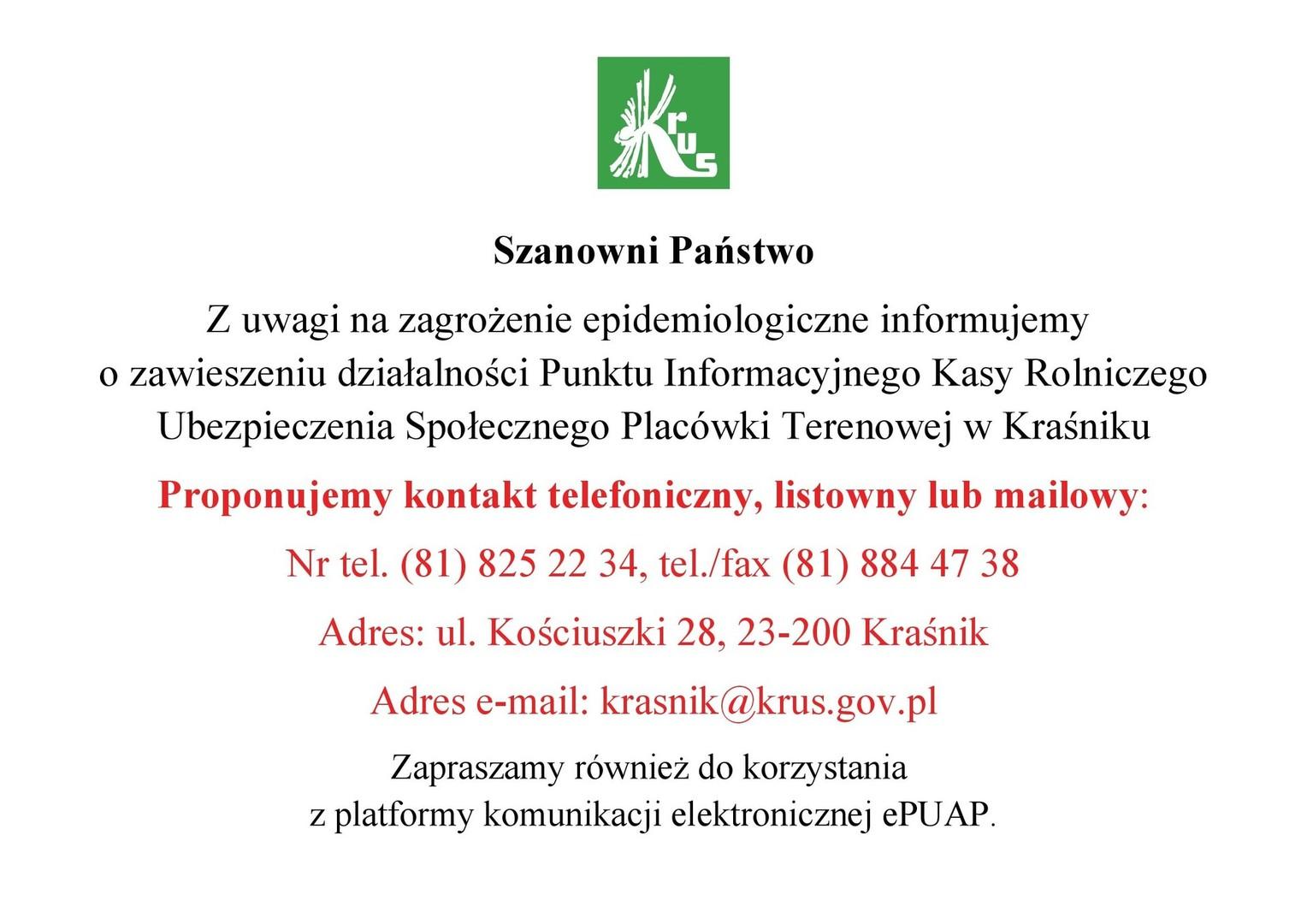 Informacja o zawieszeniu działalności Punktu Informacyjnego KRUS