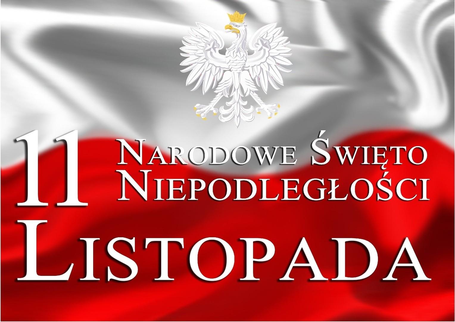 Biały napis Narodowe Święto Niepodległości na biało - czerwonej fladze