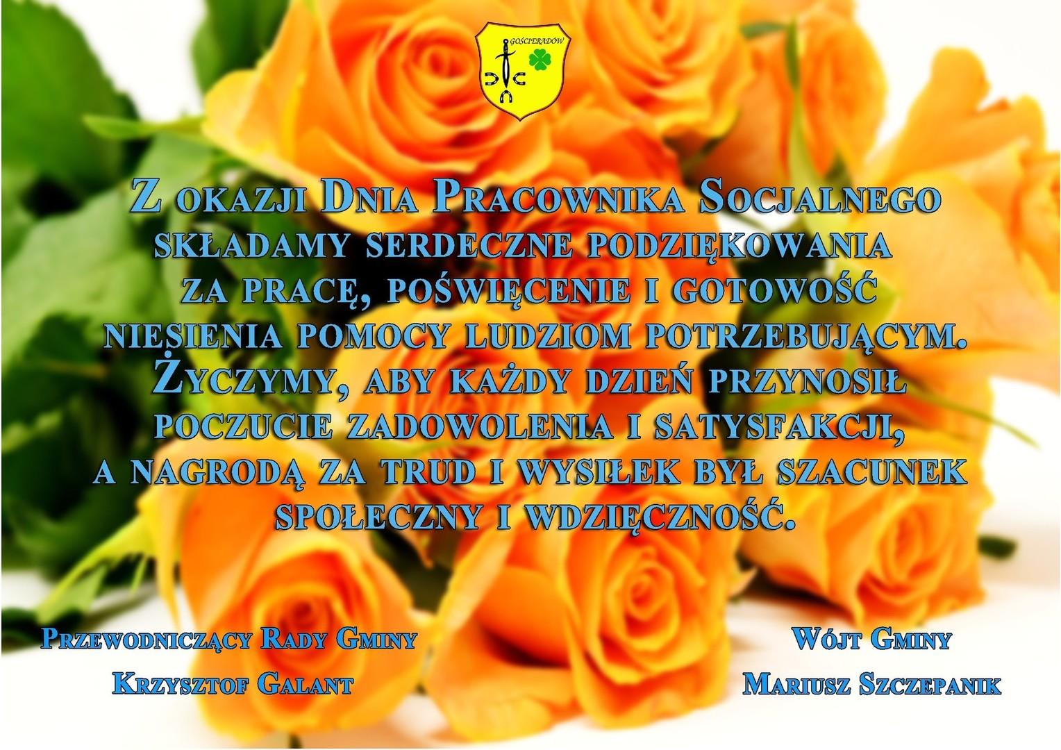 Życzenia na tle pomarańczowych róż