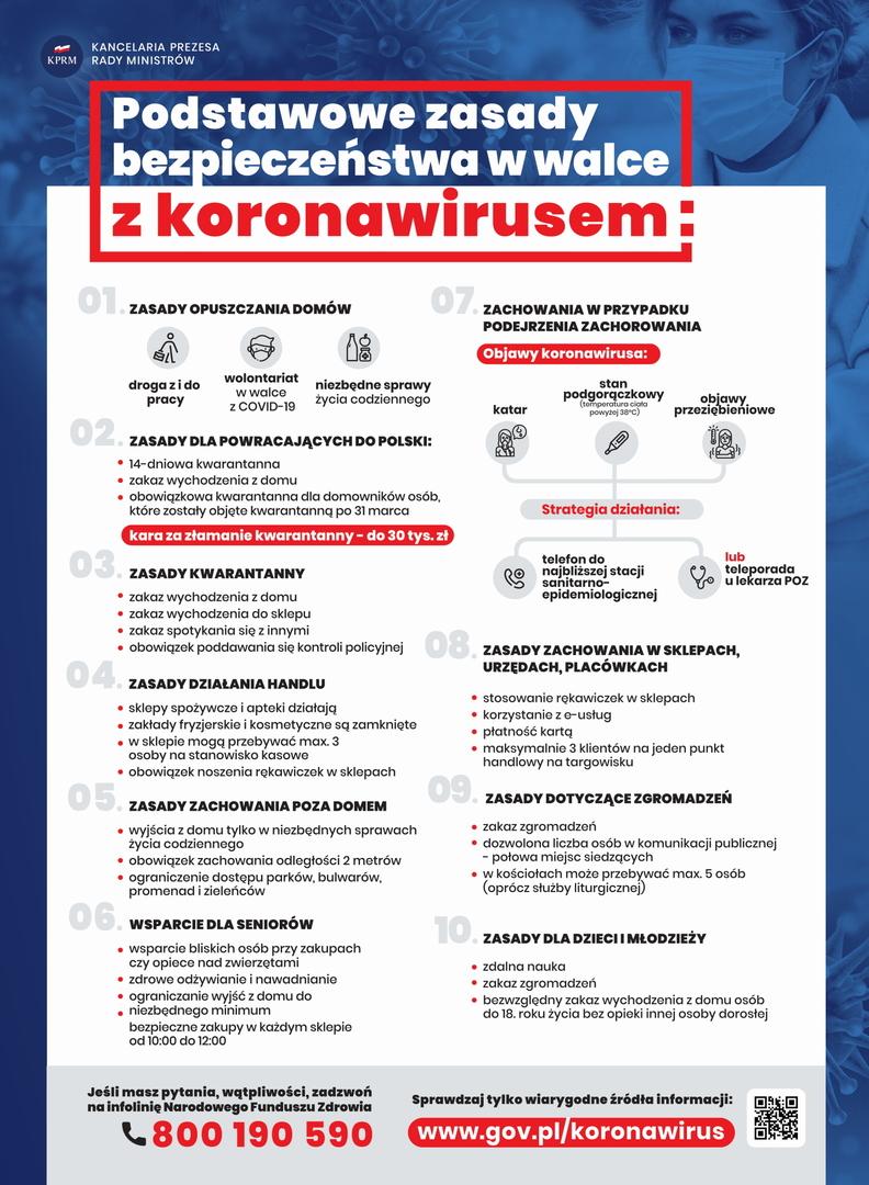 Plakat - podstawowe zasady bezpieczeństwa w walce z koronawirusem